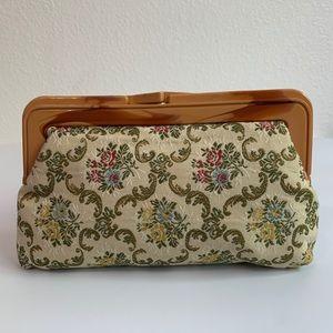 Vintage Floral Tapestry Clutch